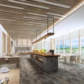 新中式餐厅3D模型【ID:648851273】