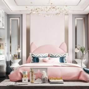 现代轻奢卧室3D模型【ID:554053245】