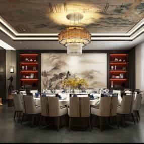 新中式风格餐厅包厢3D模型【ID:646892802】