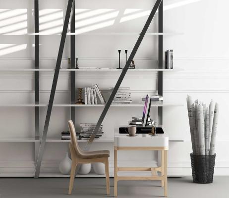 北欧风格书桌椅 置物架组合