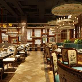 现代时尚餐厅3D模型【ID:634704208】