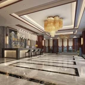 新中式酒店大厅3D模型【ID:733582085】