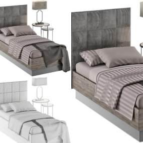 现代风格单人床3D模型【ID:850111646】
