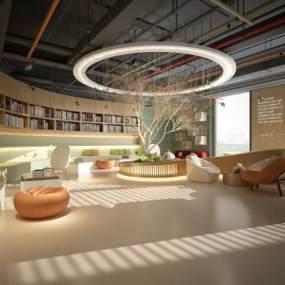 现代书吧图书馆休闲区3D模型【ID:935919818】