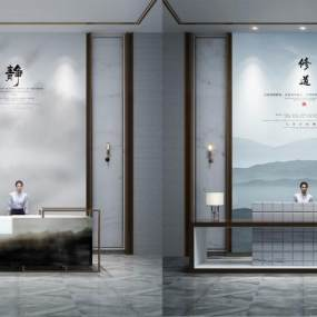 新中式服务台 3D模型【ID:942241233】