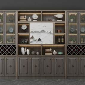 新中式实木酒柜3D模型【ID:634913265】