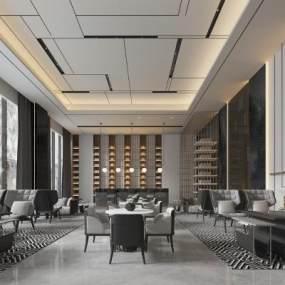 新中式酒店大堂接待区3D模型【ID:733570038】