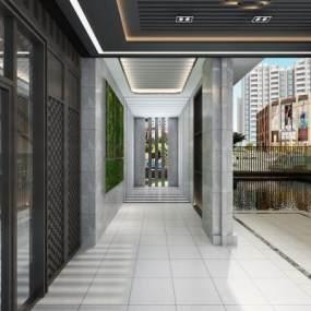 现代售楼部走廊3D模型【ID:933117673】
