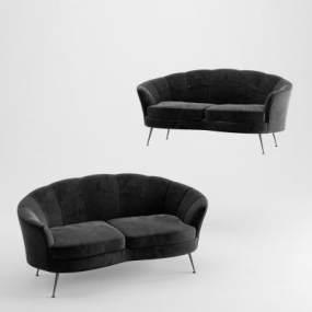 简欧绒布双人沙发3D模型【ID:646942587】