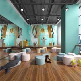 现代活动教室3D模型【ID:943516698】