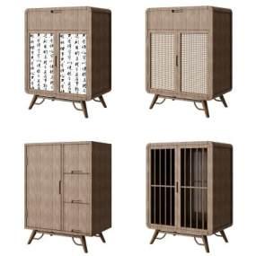 新中式邊柜矮柜裝飾柜組合3D模型【ID:143875133】