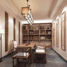 新中式茶室3D模型【ID:636044140】