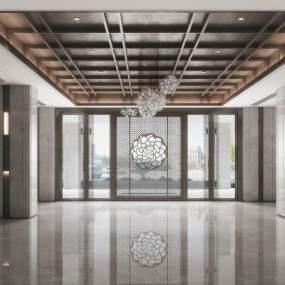 新中式酒店大堂3D模型【ID:745630061】