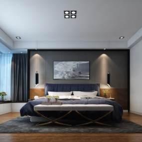 现代卧室3D模型【ID:533564247】