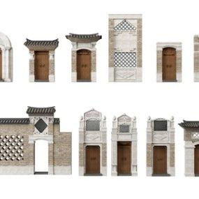 中式古建筑门头墙面3D模型【ID:335766169】