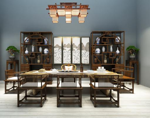 新中式茶桌博古架吊灯组合3D模型【ID:530635477】