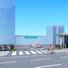 现代岗亭闸道景观石花盒子3D模型【ID:235781433】