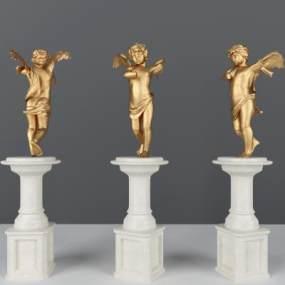 广场天使雕塑3D模型【ID:236149505】