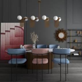 现代轻奢餐桌椅3D模型【ID:853971847】