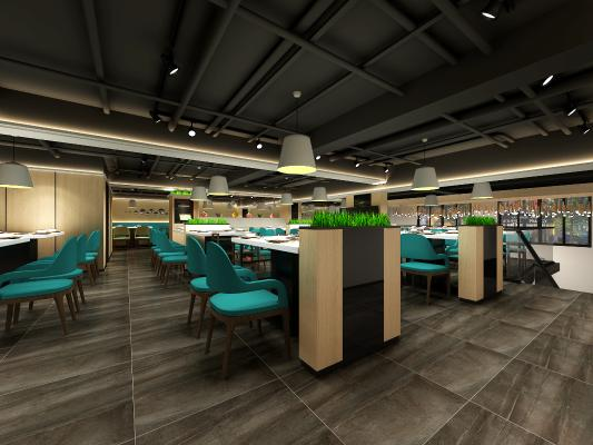 現代風格餐廳3D模型【ID:643567542】