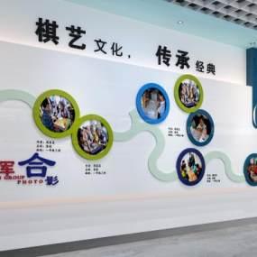 现代学校走廊主题墙3D模型【ID:934512666】