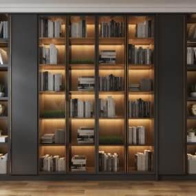现代书柜3D模型【ID:148725557】