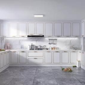 現代櫥柜描金門板冰箱 3D模型【ID:137137751】