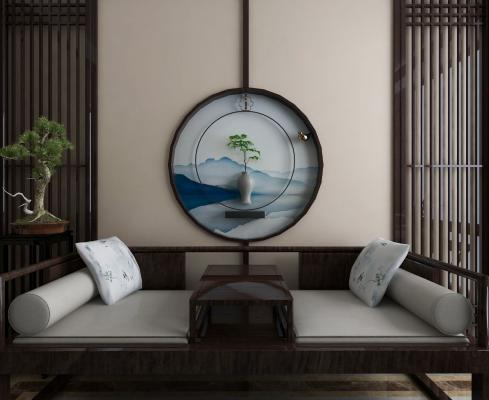 新中式羅漢床3D模型【ID:736234783】