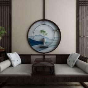 新中式罗汉床3D模型【ID:736234783】