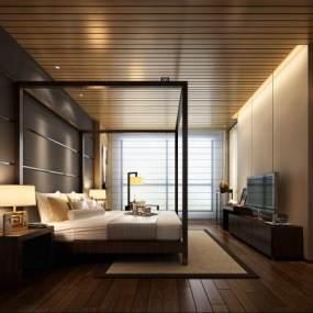 现代酒店客房3D模型【ID:733096395】