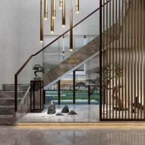 新中式楼梯玄关3D模型【ID:635674051】
