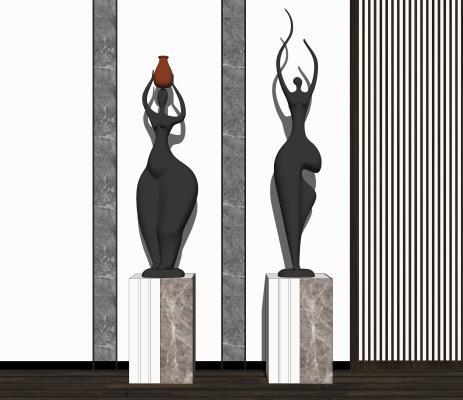 现代艺术人型雕塑SU模型【ID:653211889】