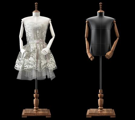 现代服装店模特服装3D模型【ID:335296092】
