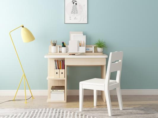 现代简约书桌椅组合3D模型【ID:945921381】