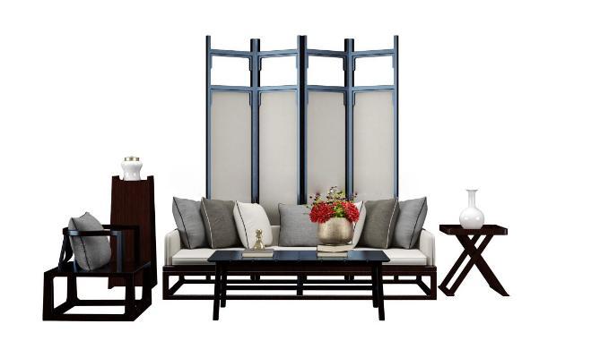 新中式三人位沙發3D模型【ID:631028694】