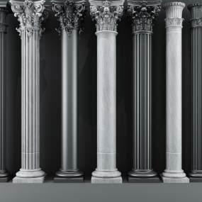 现代罗马柱子欧式柱子3D模型【ID:333913470】