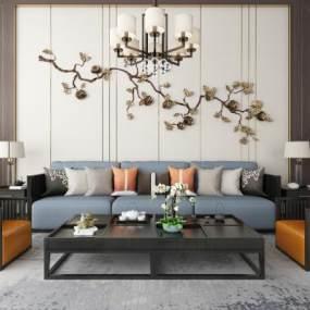 新中式沙发茶几吊灯装饰画地毯组合 3D模型【ID:641298773】