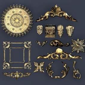欧式古典石膏雕花构件3D模型【ID:333363637】