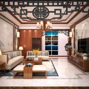 新中式客厅3D模型【ID:552527007】