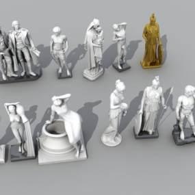 新古典人物雕塑3D模型【ID:352982169】