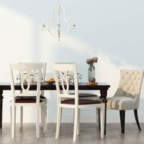 美式欧式餐桌椅组合3D模型【ID:836160877】