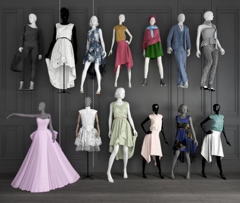 现代服装店模特婚纱模特女装模特组合3D模型【ID:341799024】