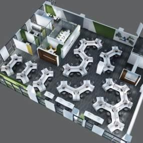 现代办公室鸟瞰3D模型【ID:932014009】