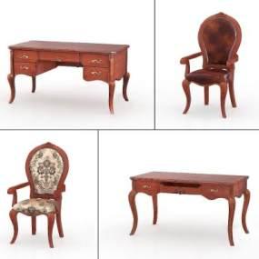 美式实木书桌椅3D模型【ID:946935076】
