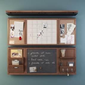 北欧黑板记事板软木板墙饰品3D模型【ID:632843315】