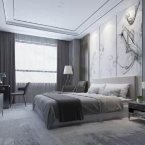 新中式臥室酒店包間客房3D模型【ID:543814272】