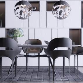 后现代黑百灰餐桌椅3D模型【ID:533772139】