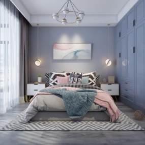 现代北欧卧室主人房 3D模型【ID:541364293】
