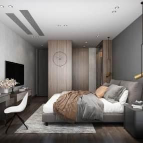 現代臥室3D模型【ID:549161245】