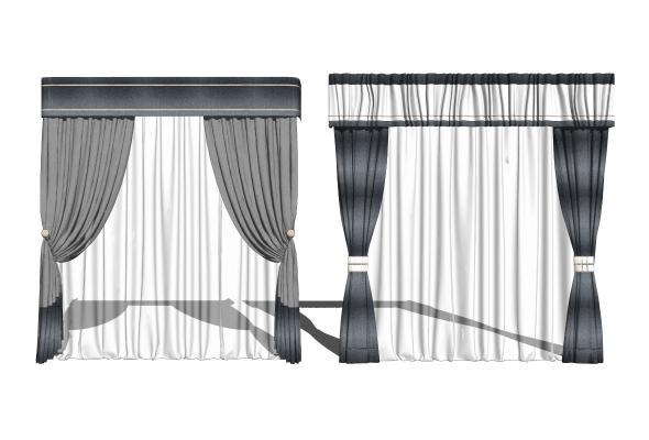 现代窗帘组合SU模型【ID:948629458】